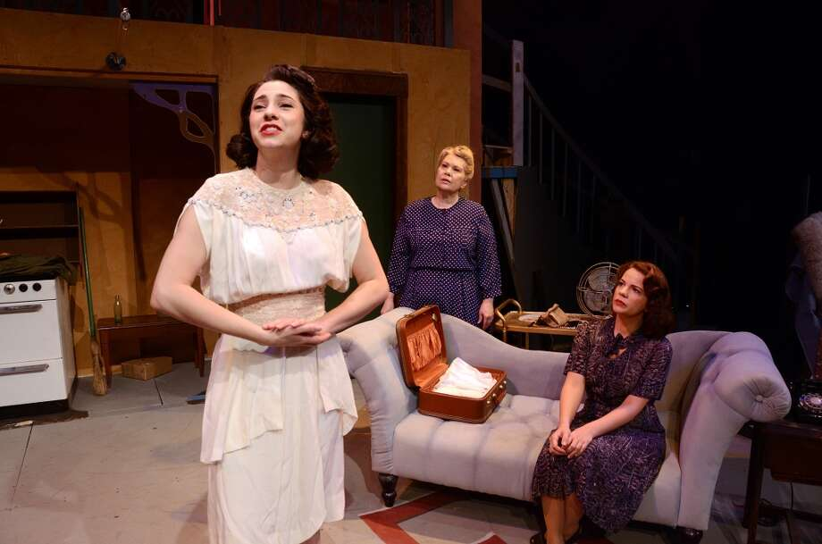 "Jade Oliver (left) as Blanche DuBois rehearses a scene from ""A Streetcar Named Desire"" with Pepper Thompson (center) as Eunice, a neighbor, and Heather Rushing as Stella Kowalski, Blanche's sister. The Beaumont Community Players production runs March 28-April 12.  Photo provided by Pete Churton/BCP Photo: Pete Churton/BCP"