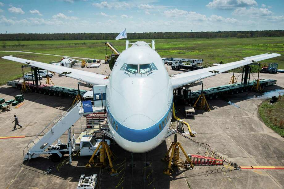 NASA 905 will be transported down Highway 3 and then Nasa Road 1 to Space Center Houston. There, next year, the plane will open as an exhibit with the shuttle atop it. Moving something as large as a 747 down the road is no easy task, and months of preparation have gone into it. Photo: Smiley N. Pool, Houston Chronicle / © 2014  Houston Chronicle