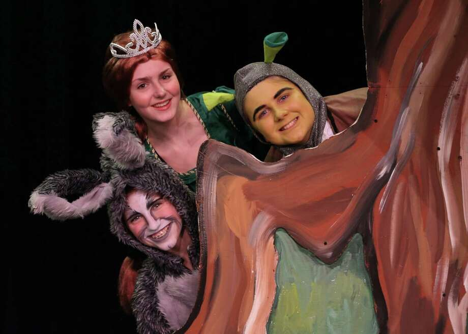 "Cast members in the Coleytown Middle School's production of ""Shrek the Musical"" were in full costume during a recent rehearsal. From left are Avery Mendillo as Donkey, Niki Beck as Fiona and Martin Menz as Shrek. The show runs from Thursday, April 3, through Saturday, April 5. Photo: Westport News/Contributed Photo / Westport News"