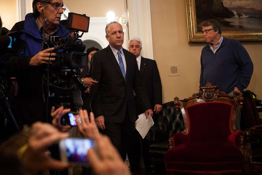 State Senate president pro tempore Darrell Steinberg enters his office for a press conference on Sen. Leland Yee's indictment at the State Capitol in Sacramento, California, March 26, 2014. Photo: Max Whittaker/Prime, Special To The Chronicle