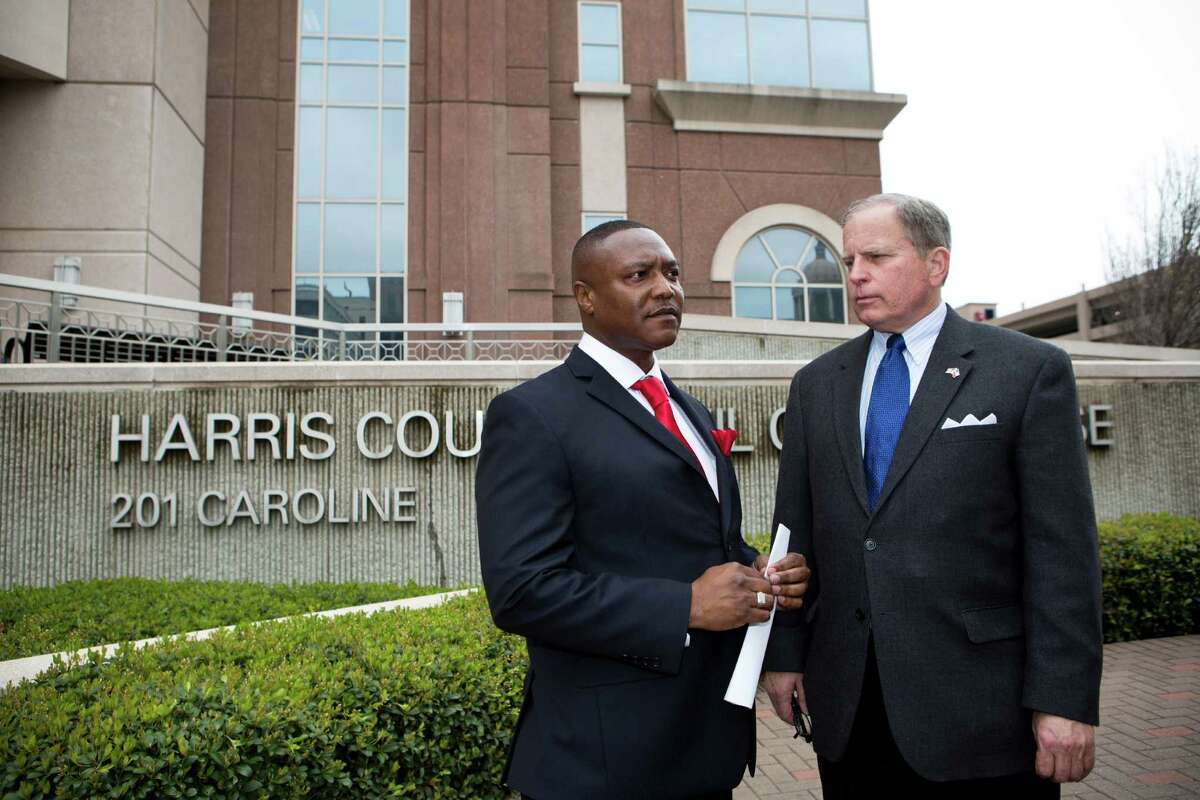 Exonerated Texas death row inmate Anthony Graves was accompanied by attorney Robert Bennett, right, at a news conference about Graves' case March 5.