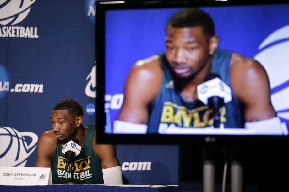 Baylor's Cory Jefferson listens to a question during a news conference at the NCAA college basketball tournament, Wednesday, March 26, 2014, in Anaheim, Calif. Baylor plays Wisconsin in a regional semifinal on Thursday. Photo: Jae C. Hong, Associated Press