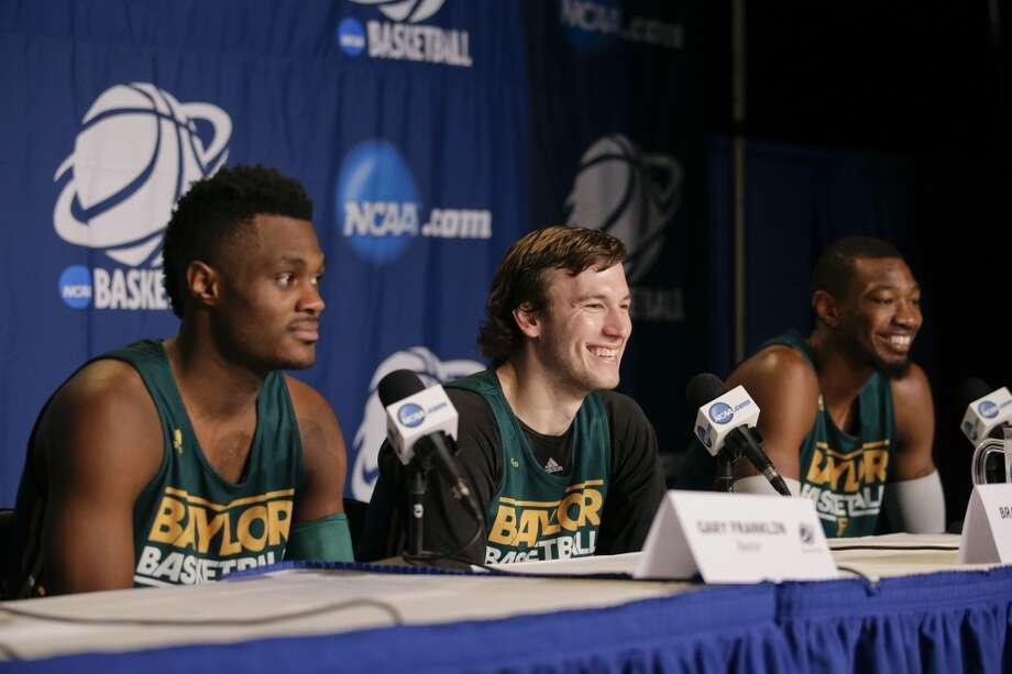 Baylor's Gary Franklin, Brady Heslip, Cory Jefferson, from left, attend a news conference at the NCAA men's college basketball tournament Wednesday, March 26, 2014, in Anaheim, Calif. Baylor plays Wisconsin in a regional semifinal on Thursday. Photo: Jae C. Hong, Associated Press