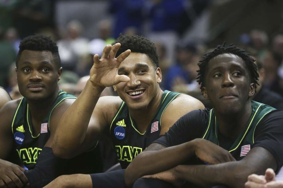The Bear bench enjoys the final moments as Baylor beats Creighton in the third round of the 2014 NCAA Divison I  Men's Basketball Championship tournament  at the AT&T Center on March 23, 2014. Photo: Tom Reel, San Antonio Express-News