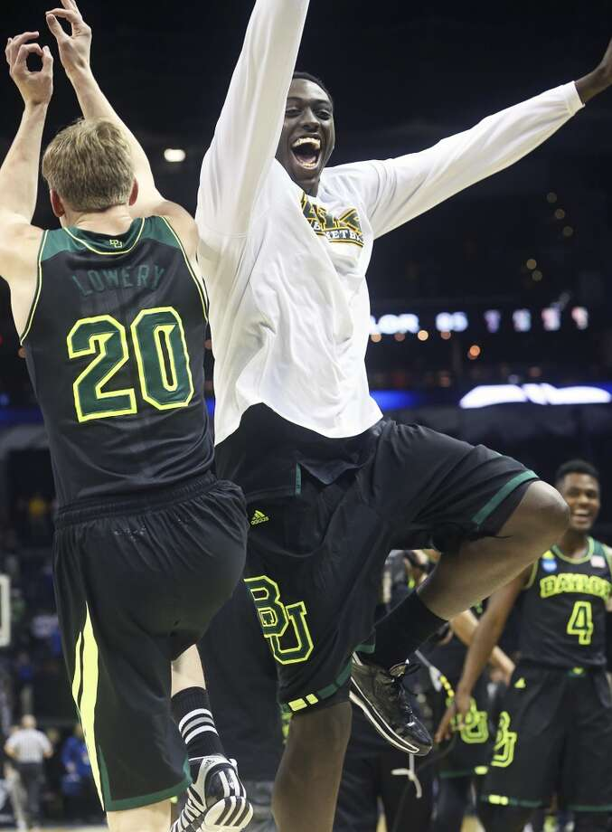 The Bears celebrate victory as Baylor beats Creighton in the third round of the 2014 NCAA Divison I  Men's Basketball Championship tournament  at the AT&T Center on March 23, 2014. Photo: Tom Reel, San Antonio Express-News