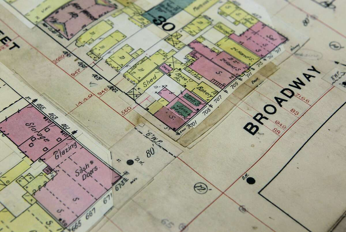 A Sanborn map archived at the Oakland History Room in the main public library branch in Oakland, Calif. shows that a junk and second hand store occupied a building in 1889 at Third Street and Broadway. The building currently occupied by Souley Vegan restaurant at 301 Broadway is believed to be one of the oldest structures still standing in the Bay Area.