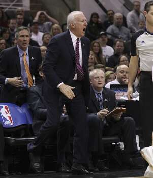 Spurs' coach Gregg Popovich reacts to a lack of a call during the game against the Portland Trailblazers in the first half at the AT&T Center on Wednesday, Mar. 12, 2014. Photo: Kin Man Hui, San Antonio Express-News