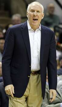San Antonio Spurs head coach Gregg Popovich reacts after a play against the Charlotte Bobcats during first half action Friday Feb. 28, 2014 at the AT&T Center. Photo: Edward A. Ornelas, San Antonio Express-News