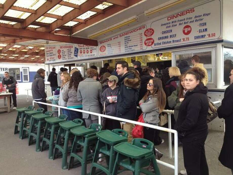 People were lined up at lunch time as Jumpin' Jacks Drive-In opened for the season Thursday in Scotia. (John Carl D'Annibale / Times Union)