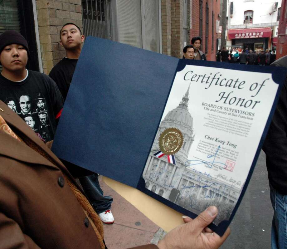 "Convicted Chinatown gang member Raymond ""Shrimp Boy'' Chow's certificate of honor from the city. Photo: Special To The Chronicle, SFC"