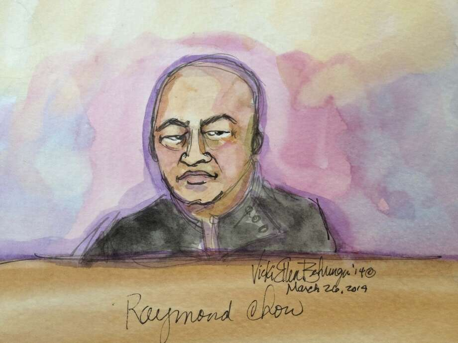 "Raymond ""Shrimp Boy"" Chow appears in this courtroom sketch before U.S. Magistrate Judge Nathanael Cousins in San Francisco March 26, 2014.  Chow, previously convicted in a San Francisco organized crime probe was arrested with several others including California state Senator Leland Yee on Wednesday as federal investigators conducted public corruption raids across California, shaking up the election season in the nation's most populous state. Photo: VICKI BEHRINGER, Reuters"