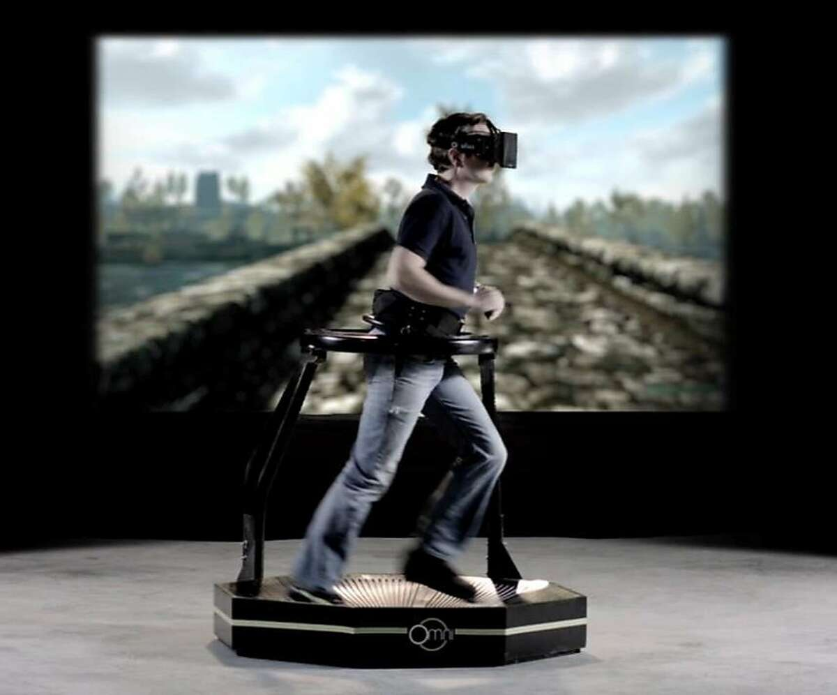 The Virtuix Omni is an omni-directional treadmill for virtual reality devices like the Oculus Rift that enables the user to walk, run, and jump in 360 degrees.
