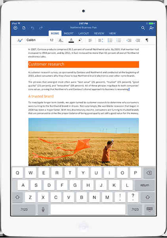 Word for iPad Photo: Microsoft