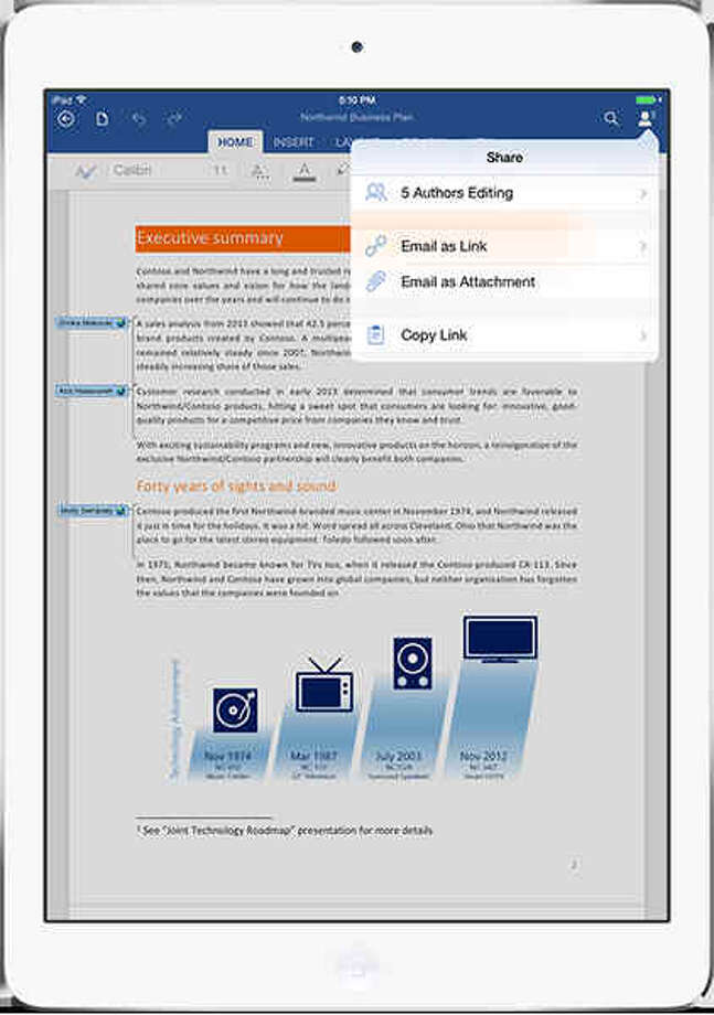 Via Office 365, you can collaborate on documents on the iPad. Photo: Microsoft