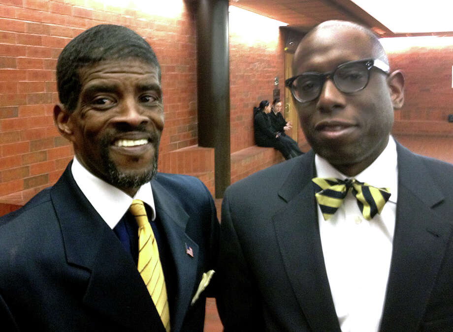 Former state Sen. Ernest E. Newton II, left, and attorney Darnell Crosland in Hartford Superior Court on Thursday, March 27, 2014 in Hartford Conn. Newton, charged with campaign finance fraud charges from his failed bid to regain his old seat, wants those charges dropped. Judge Joan K. Alexander ruled against an attempt to dismiss the case. Photo: Ken Dixon / Connecticut Post