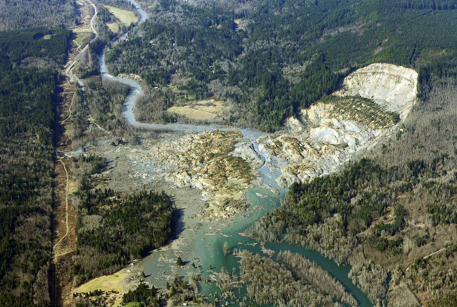 The scope of the destruction: An aerial photo shows the massive mudslide believed to have 