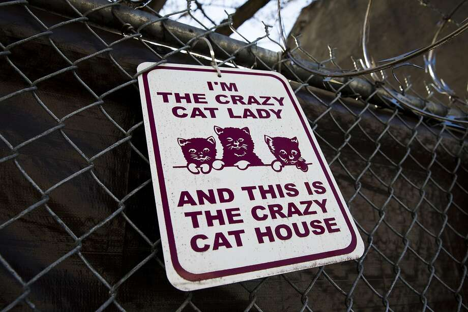 That's 130 cats per house: Someone posted this sign on a fence around two connected row 