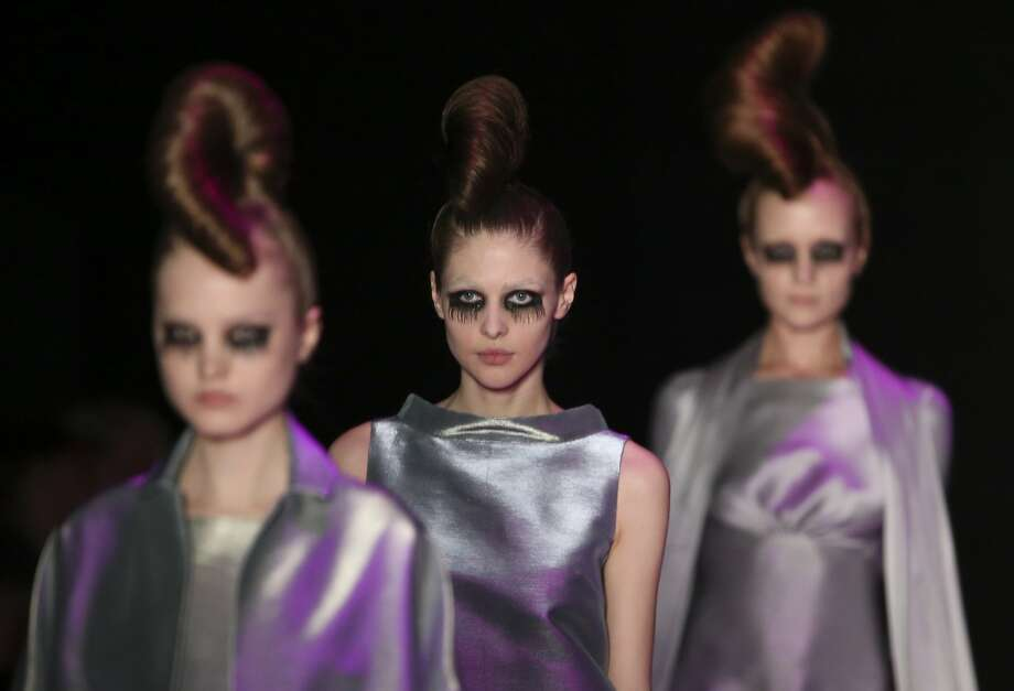 1968 all over again:Towering bouffants and liberal use of mascara mark the Tegin show at Mercedes-Benz Fashion Week Russia in Moscow. Photo: Sergei Karpukhin, Reuters