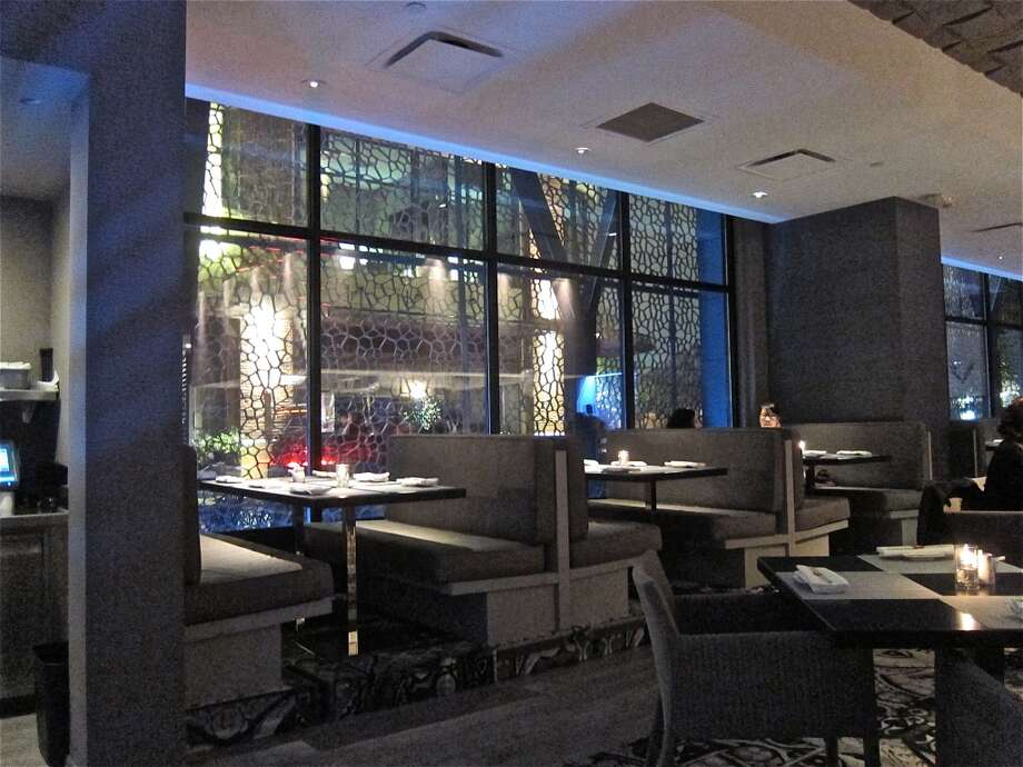 Booths in the dining room at Nara.
