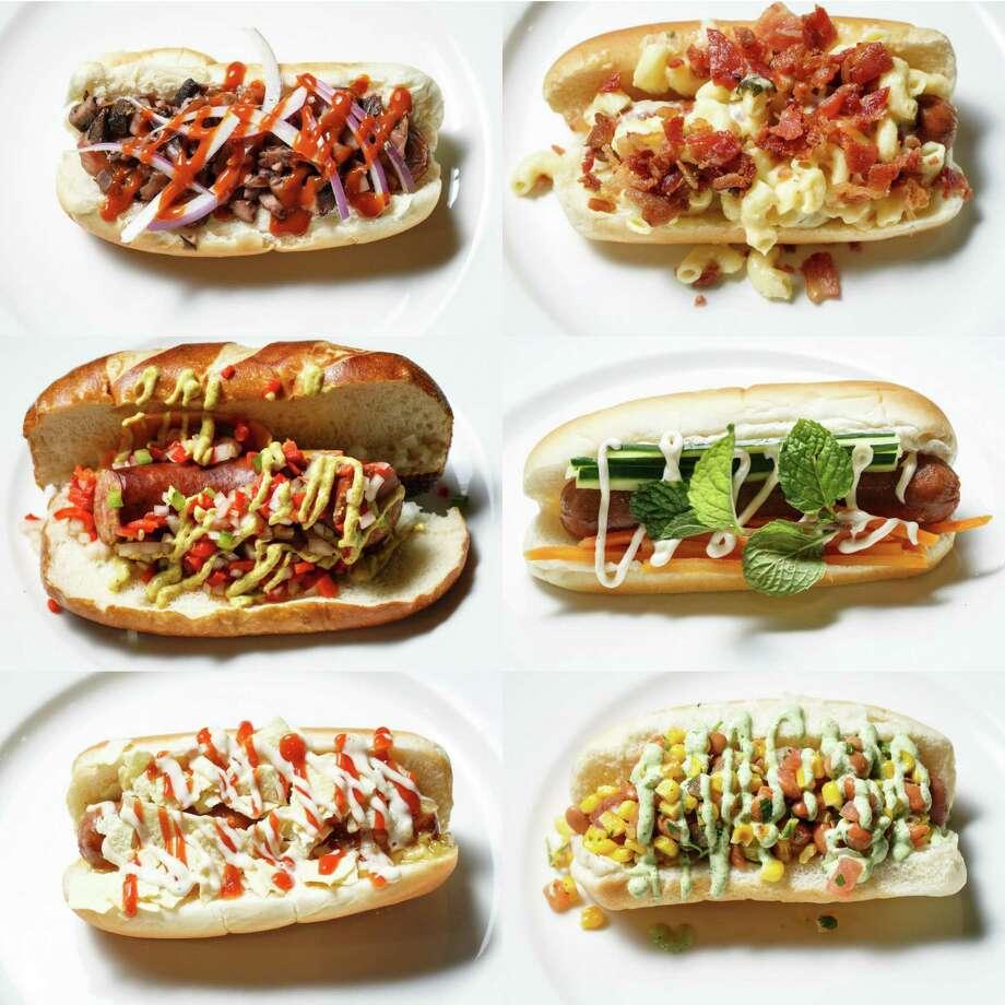 A sneak peak at the new progressive hot dog choices at Minute Maid Park this season, Thursday, March 27, 2014, in Houston. Photo: Michael Paulsen, Houston Chronicle / © 2014 Houston Chronicle