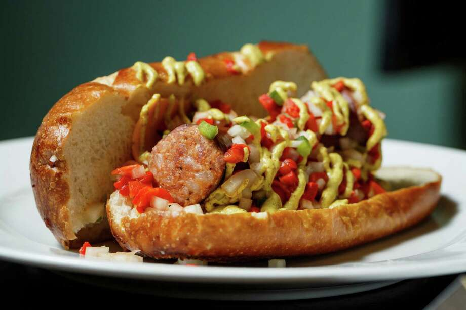 A sneak peak at the new Cajun Andouille Dog at Minute Maid Park this season, Thursday, March 27, 2014, in Houston. Photo: Michael Paulsen, Houston Chronicle / © 2014 Houston Chronicle