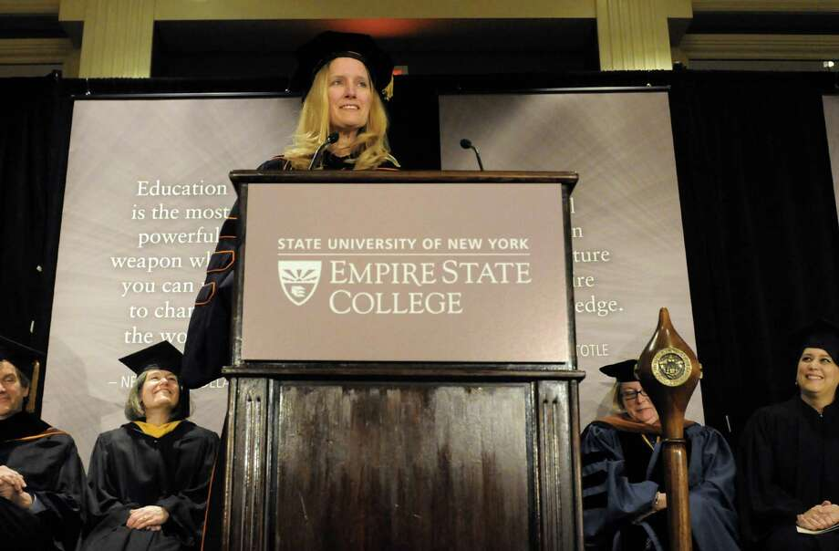 New President Merodie A. Hancock gives her inauguration address as SUNY Empire State College celebrates the inauguration of its fourth president on Thursday March 27, 2014 in Saratoga Springs, N.Y. (Michael P. Farrell/Times Union) Photo: Michael P. Farrell / 00026218A