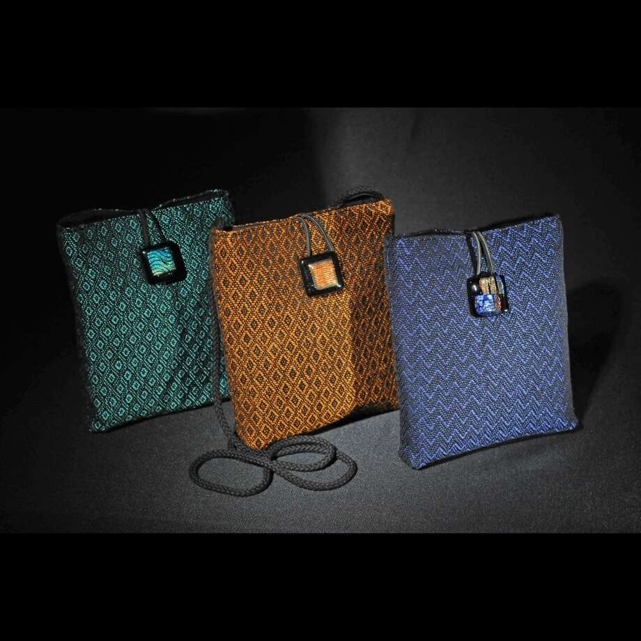 Lynn Langhoff assortment-handwoven purses made with hand-dyed yarn, $45