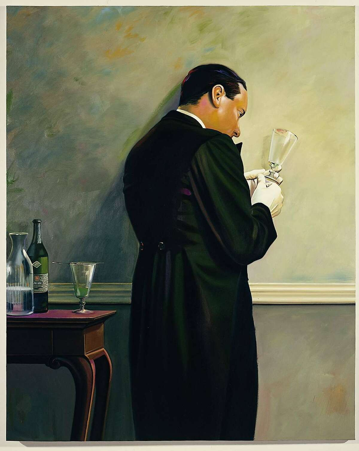 Mark STOCK The Butler's in Love - Absinthe, 1989 Oil on canvas 75 1/4 x 64 1/2 inches (MS 484)