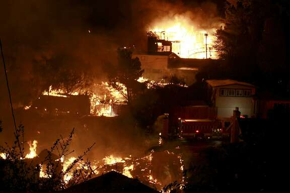 An entire street of houses burned as night fell. A blast believed to be caused by a natural gas explosion destroyed a San Bruno, Calif. neighborhood Thursday September 9, 2010.