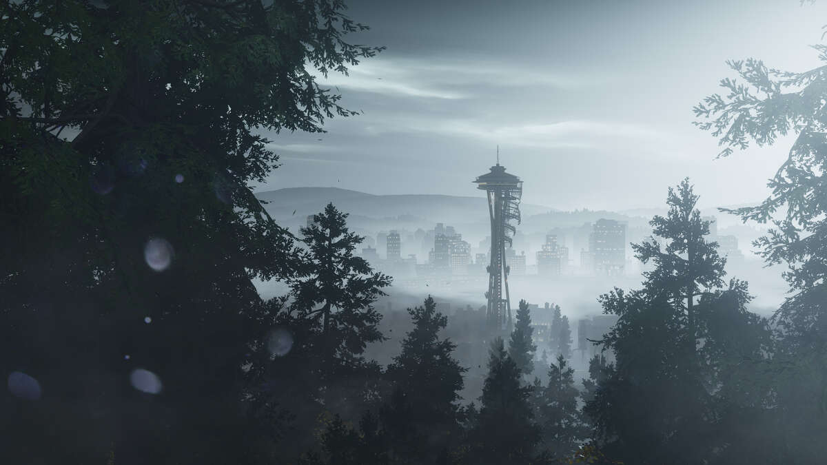 This screenshot shows a virtual Seattle as portrayed in the new video game