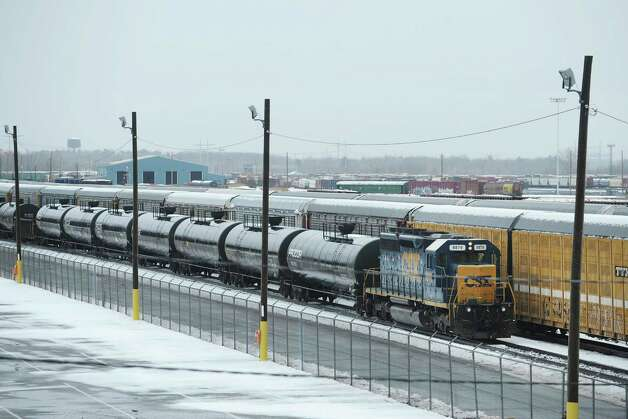 A view looking south west of the CSX rail yard on Wednesday, Feb. 27, 2013 in Selkirk, NY. CSX is expanding rail lines south of Selkirk so they can deliver more crude oil from the Bakken oil fields in North Dakota. (Paul Buckowski / Times Union)