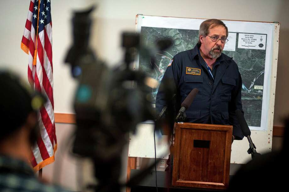 Tom Minor, Incident Support Team Lead for FEMA, briefs media on the rescue and recovery process Thursday, March 27, 2014, in Arlington within Snohomish County, Wash. At least 25 people are known to have died when a colossal mudslide occurred on Saturday, unleashing a wall of earth that destroyed dozens of homes near the rural town of Oso, Wash., 55 miles northeast of Seattle. Photo: JORDAN STEAD, SEATTLEPI.COM / SEATTLEPI.COM