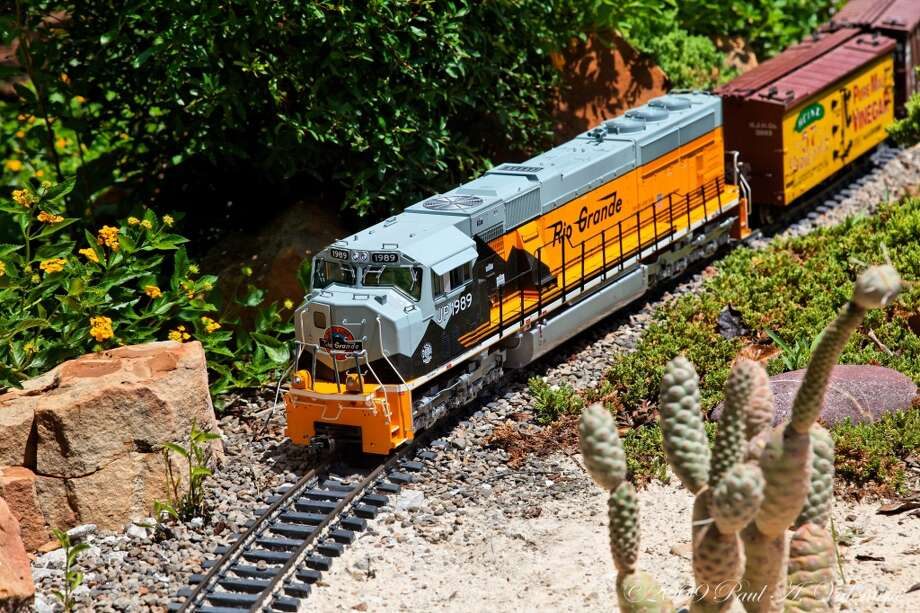 G-scale model trains meander through Clark Garden Botanical Park in Weatherford. Photo: Courtesy Photo, Clark Gardens Botanical Park