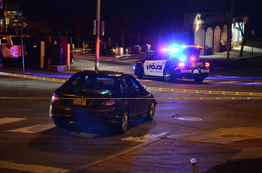 A 45-year-old woman was hit by a car while crossing Park Street Thursday night. Photo: Nelson Oliveira / New Canaan News