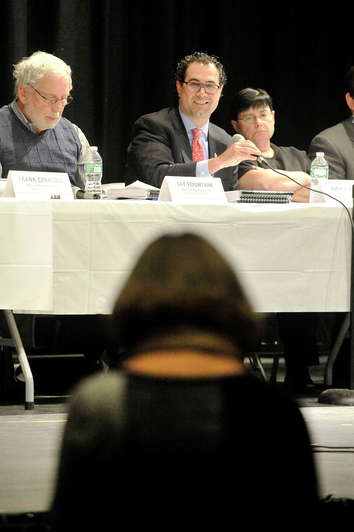 Deborah Golden, foreground, speaks as John Louizos, chairman of the Board of Finance, grabs the microphone during the public hearing on Mayor David Martin's proposed budget before the Board of Finance and Board of Representatives at Westhill High School in Stamford, Conn., on Thursday, March 27, 2014.
