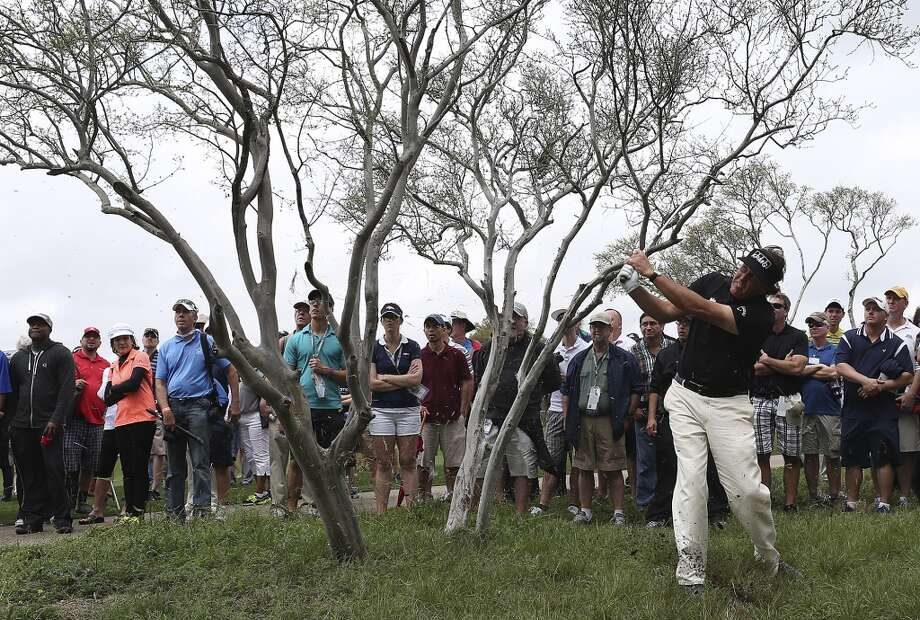 Phil Mickelson, of Rancho Santa Fe, California, hits out of a native area by the Number 2 fairway during the first round of the 2014 Valero Texas Open at TPC San Antonio, Thursday, March 27, 2014. Mickelson ended the round at 5-over par. Photo: Jerry Lara, San Antonio Express-News
