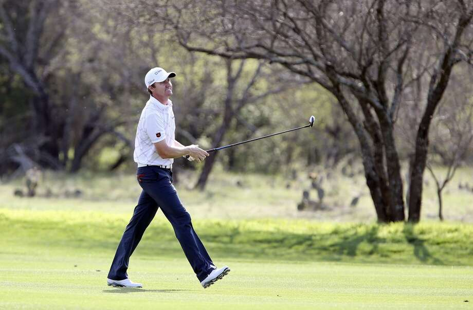 Jimmy Walker watches his approach shot on No. 8 during the first round of the 2014 Valero Texas Open Thursday March 27, 2014 at TPC San Antonio. Photo: Edward A. Ornelas, San Antonio Express-News