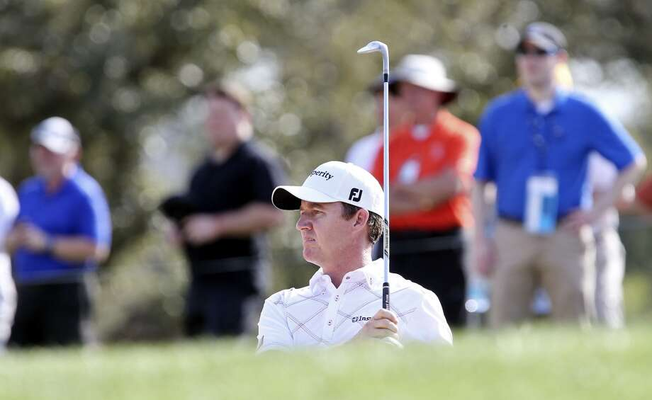 Jimmy Walker watches his shot on No. 8 during the first round of the 2014 Valero Texas Open Thursday March 27, 2014 at TPC San Antonio. Photo: Edward A. Ornelas, San Antonio Express-News