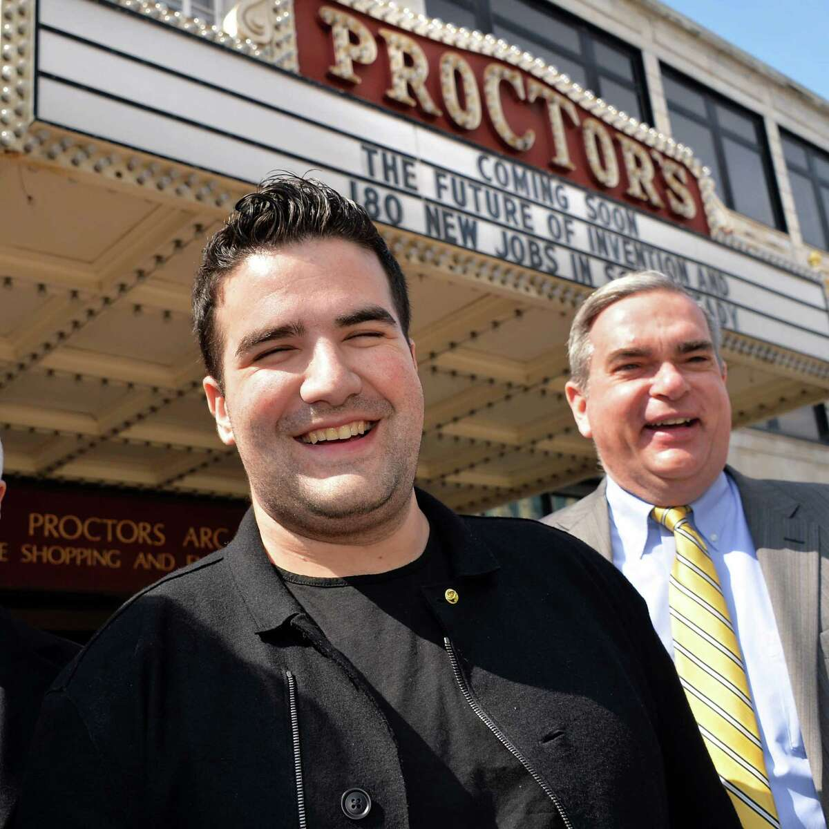 25-year-old entrepreneur Ben Kaufman, left, and Schenectady Mayor Gary McCarthy outside Proctor's Thursday March 27, 2014, in Schenectady, N.Y., following an announcement that Quirky is opening an office in Schenectady where they expect to hire 180 people. (John Carl D'Annibale / Times Union)