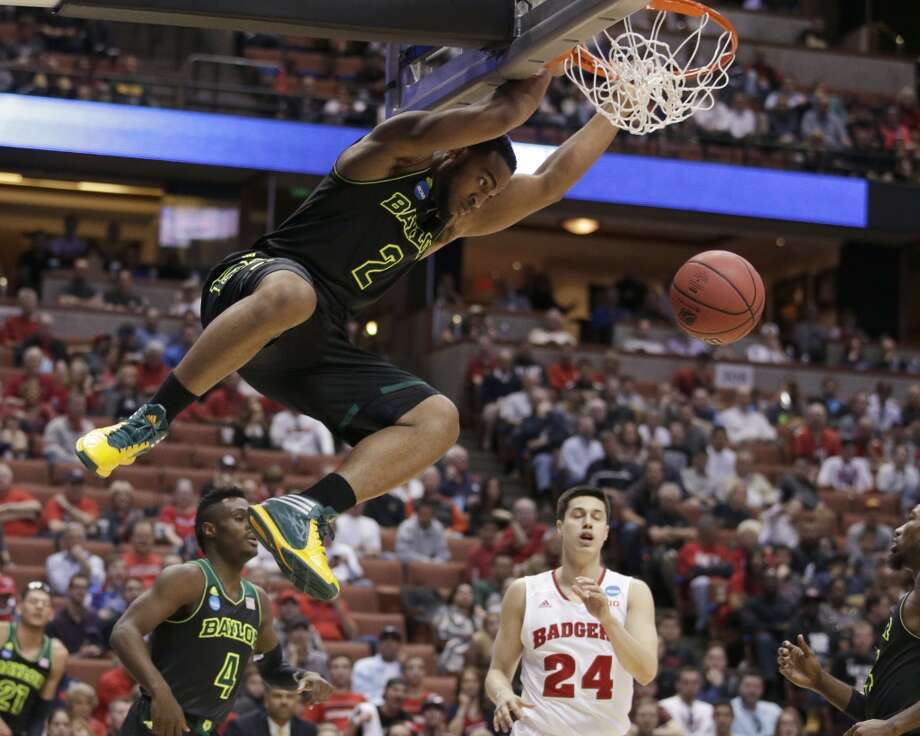 Baylor forward Rico Gathers (2) dunks against Wisconsin during the second half of an NCAA men's college basketball tournament regional semifinal, Thursday, March 27, 2014, in Anaheim, Calif. Photo: Jae C. Hong, Associated Press