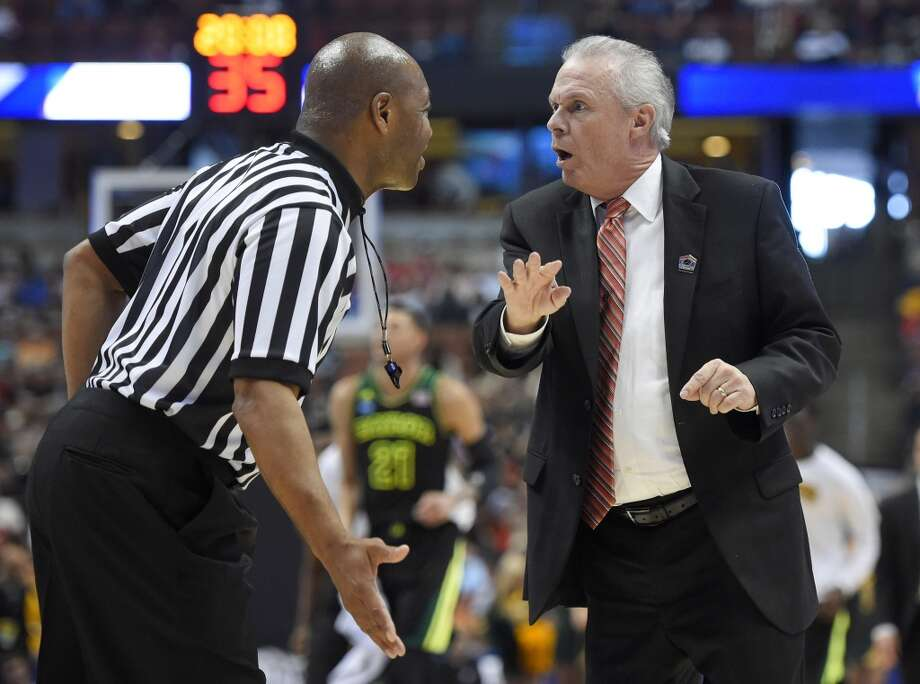 Wisconsin coach Bo Ryan argues a call during the first half against Baylor in an NCAA men's college basketball tournament regional semifinal, Thursday, March 27, 2014, in Anaheim, Calif. Photo: Mark J. Terrill, Associated Press
