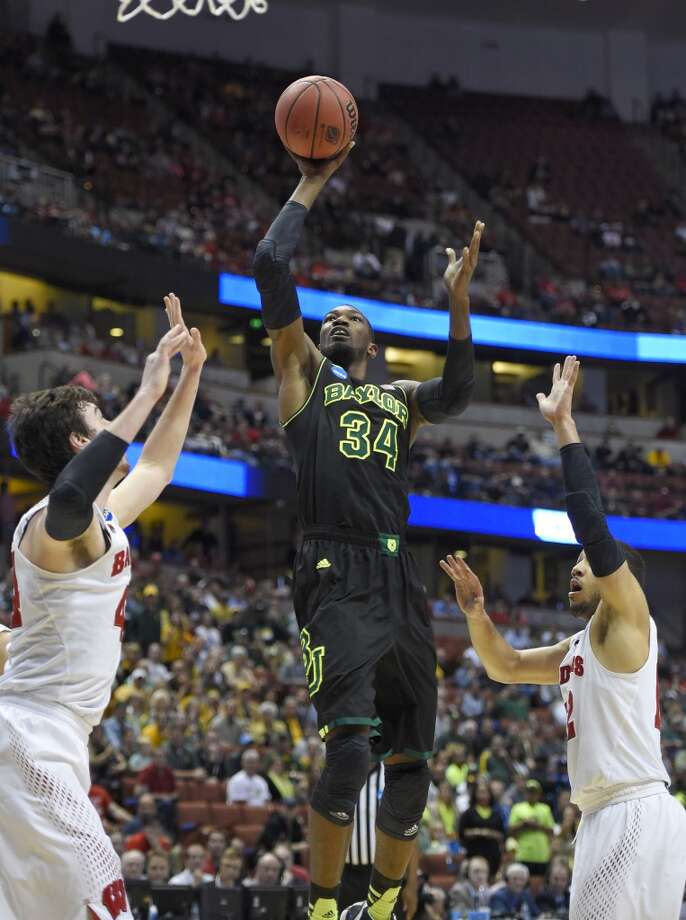 Baylor forward Cory Jefferson (34) shoots against Wisconsin during a regional semifinal NCAA college basketball tournament game, Thursday, March 27, 2014, in Anaheim, Calif. Photo: Mark J. Terrill, Associated Press