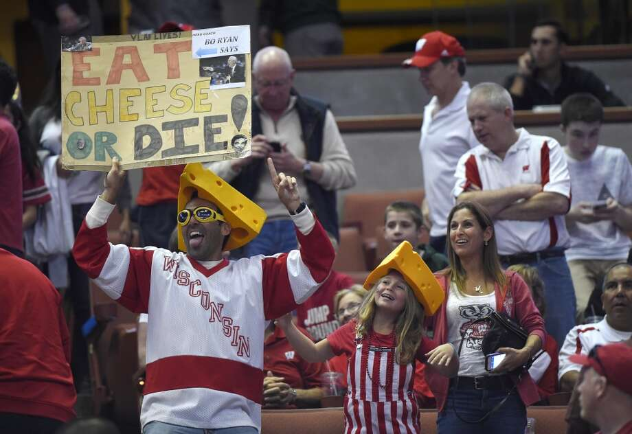 Wisconsin fans cheer prior to an NCAA men's college basketball tournament regional semifinal between Baylor and Wisconsin, Thursday, March 27, 2014, in Anaheim, Calif. Photo: Mark J. Terrill, Associated Press