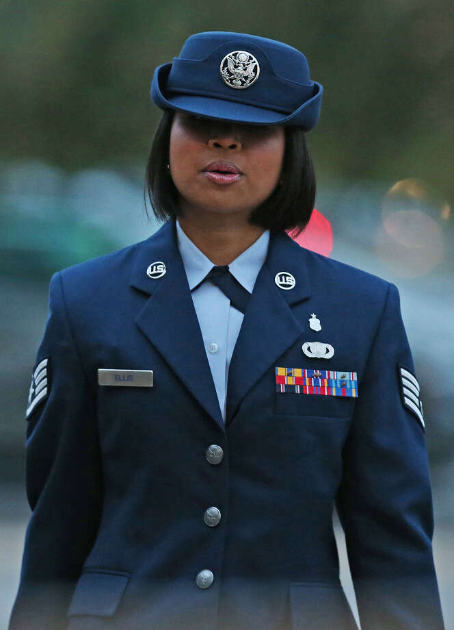 U.S. Air Force Staff Sgt. Annamarie Ellis, on trial for abusing recruits, was herself allegedly abused by her dad. Photo: Jerry Lara / San Antonio Express-News / © 2014 San Antonio Express-News
