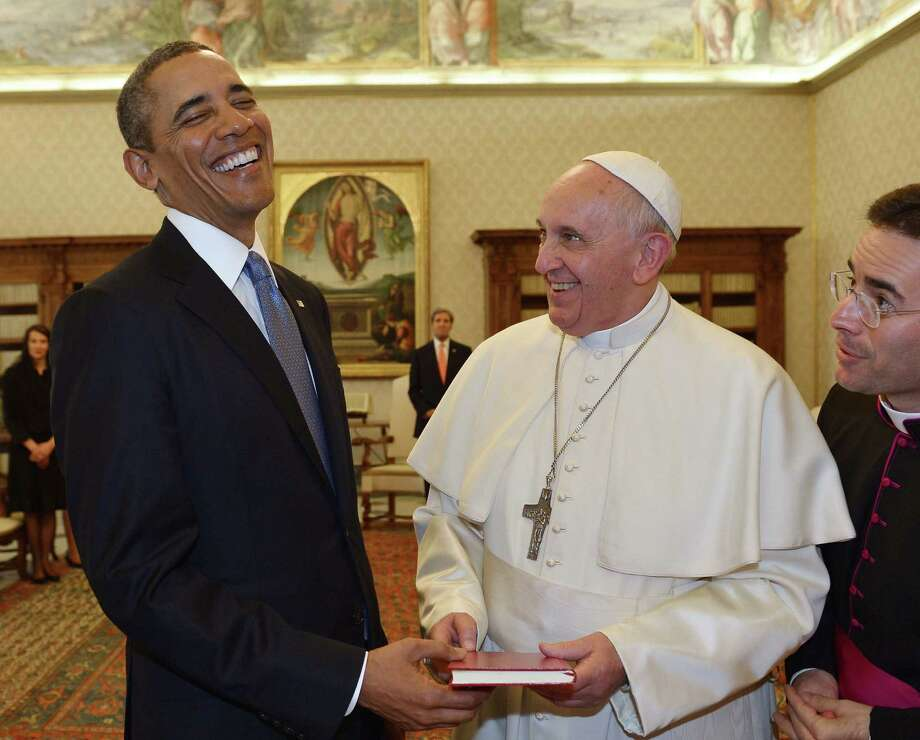 Pope Francis and President Barack Obama found common ground on helping the poor and the elusiveness of global peace as the two powerful leaders met for the first time at the Vatican. Photo: Gabriel Bouys / AFP / Getty Images / GABRIEL BOUYS