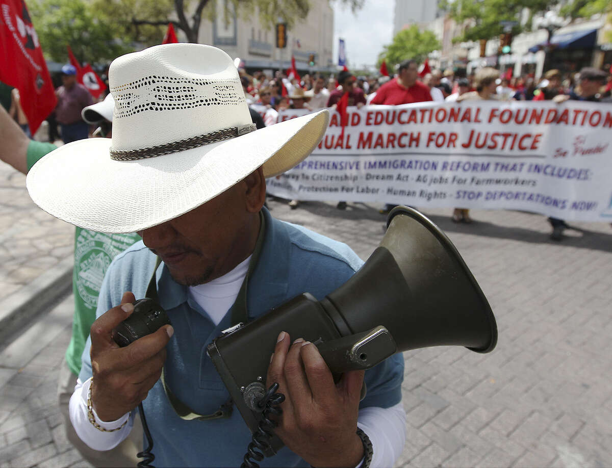 During the 17th annual César E. Chávez March for Justice last year, Jaime Rios called out to marchers with the original bullhorn used by the famed workers rights activist.