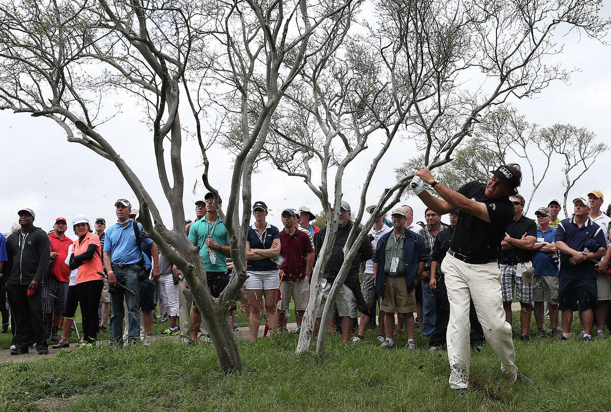 Phil Mickelson, of Rancho Santa Fe, California, hits out of a native area by the Number 2 fairway during the first round of the 2014 Valero Texas Open at TPC San Antonio, Thursday, March 27, 2014. Mickelson ended the round at 5-over par.