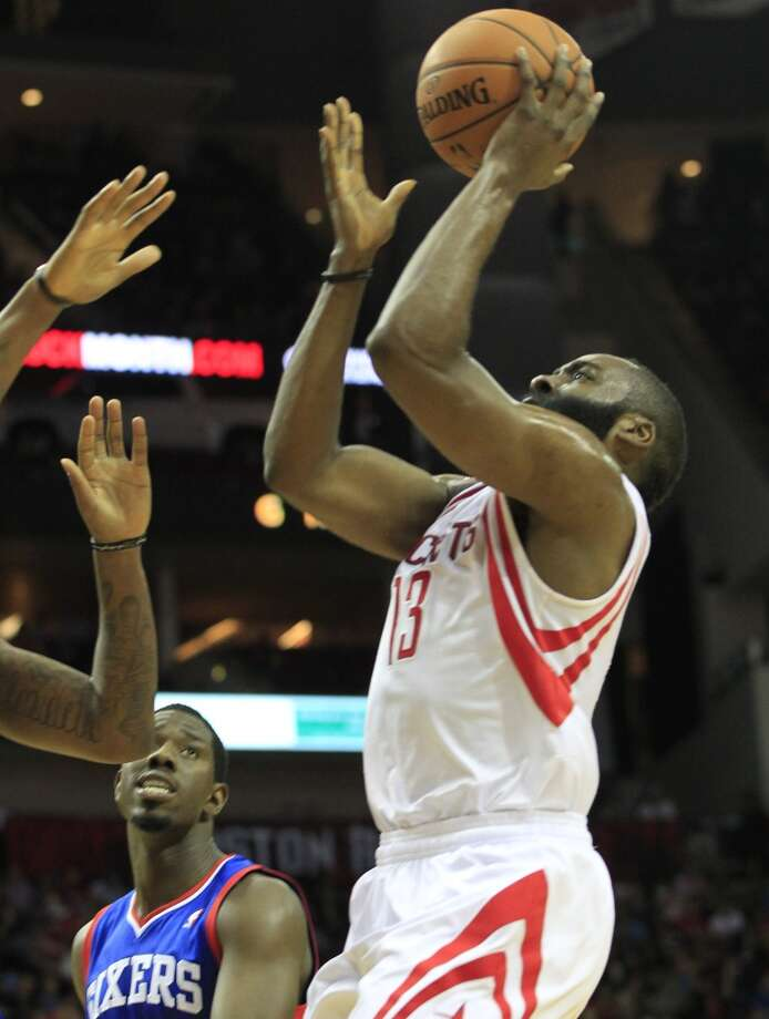 March 27: Rockets 120, 76ers 98  James Harden's second career triple double (in three quarters) secured a Rockets win and also handed the 76ers a NBA record-tying 26th straight loss. With the win, the Rockets also finish the season with an undefeated record against the Eastern Conference at Toyota Center.  Record: 49-22 Photo: Johnny Hanson, Houston Chronicle