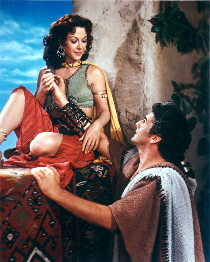 Hedy Lamarr (1913-2000), Austrian actress, and Victor Mature (1913-1999), US actor, both in costume in a publicity portrait issued for the film, 'Samson and Delilah', 1949. The biblical epic, directed by Cecil B DeMille (1881-1959), starred Lamarr as 'Delilah', and Mature as 'Samson'. Photo: Silver Screen Collection, Getty Images / Moviepix