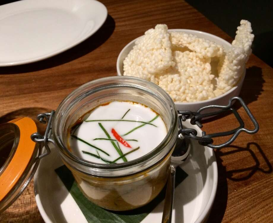 Kin Khao: Curried mushroom in a jar with rice cakes ($10)